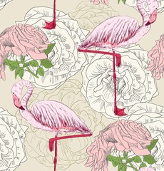 Vector sketch of a flamingo with roses. Hand drawn illustration