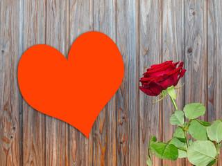 Grußkarte Herz mit Rose Vorlage