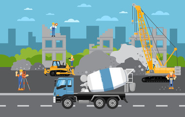 Under construction banner with construction machinery vector illustration. Road repair, maintenance and construction of pavement. Building construction with crane, excavator and concrete mixer