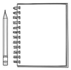 notebook and pencil hand drawn vector line art illustration