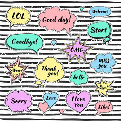 Hand drawn set of speech bubbles with dialog words: Hello, Love, Sorry, Welcome, Bye. Vector illustration for srickers