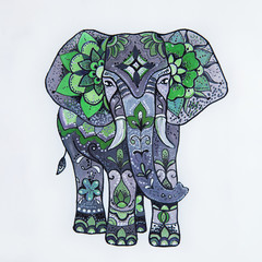 Sketch purple elephant with beautiful patterns.