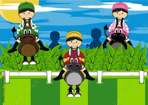 Cute Cartoon Horse Racing Jockeys Stock Image And