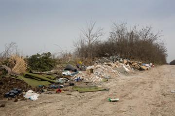illegal dump near the road