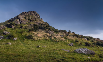 Brentor in the Dartmoor National Park. Evening. The clouds are gathering. Devon. England