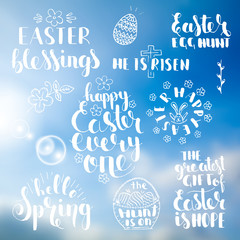 Phrases about Easter over abstract blurred background. Handwritten lettering set