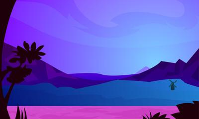 Summer landscape.Vector illustration.