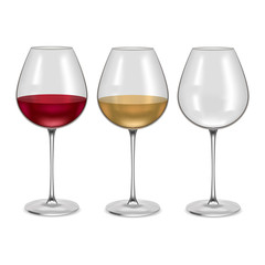 Realistic Glass Empty and with Wine Set. Vector