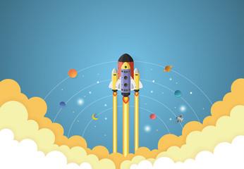 Start up concept. rocket flying on earth,paper art