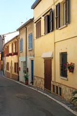 old houses street Rimini Italy summer season