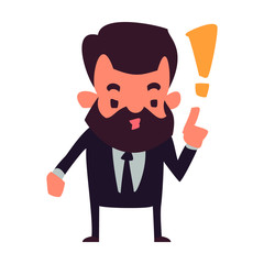 Bearded man with business suit.Warning gesture.Vector illustration in cartoon style