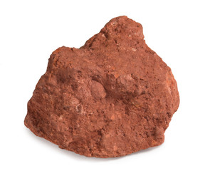 Mineral  bauxite isolated on white background. Bauxite, an aluminium ore, is the main source of aluminium metal.