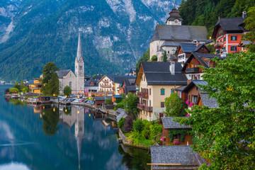 Hallstatt lakeside town in the Alps, Salzkammergut, Austria