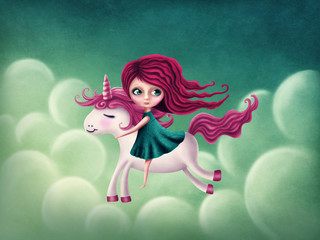Illustration of girl with unicorn
