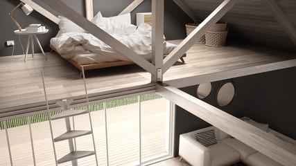 Mezzanine loft bedroom, stairs and living with sofa, minimalist scandinavian interior design