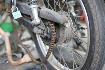 Part of a motorcycle chain in repair of the damage, Garage shop