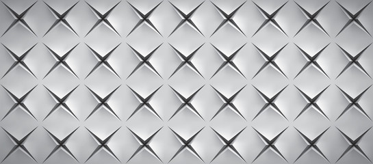 Realistic texture, gray surface with slots in the form of stars, vector design background