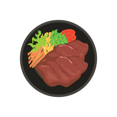 hot meat steak with potato, tomato and vegetable garnish on black plate with white background. vector illustration
