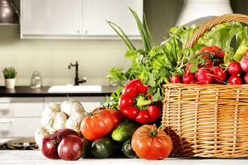 vegetables and kitchen space
