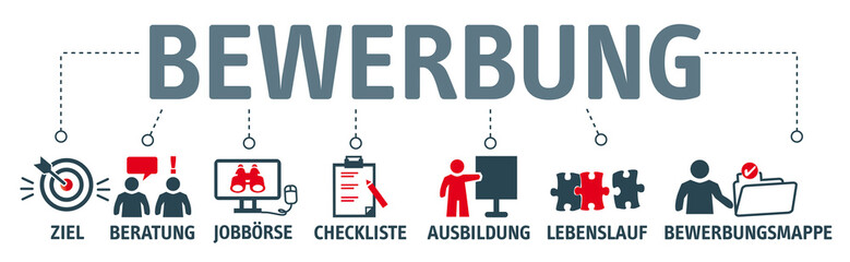 Banner Bewerbung Konzept. Symbole und Schlüsselwörter