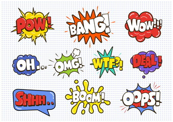 Comic sound speech effect bubbles set isolated on white backgrou