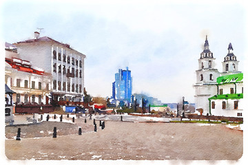 Watercolor picture of a fragment of the old city