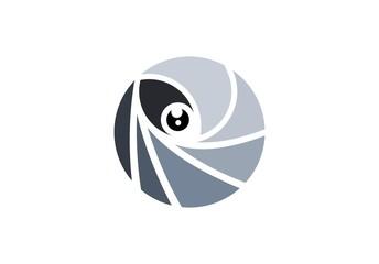 eye sphere round logo vision concept, gray circle visual eye logo symbol icon, global optic eyeball illustration vector design template