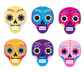 Sugar skull set icon, flat, cartoon style. Cute dead head, skeleton for the Day of the Dead in Mexico. Isolated on white background. Vector illustration, clip art