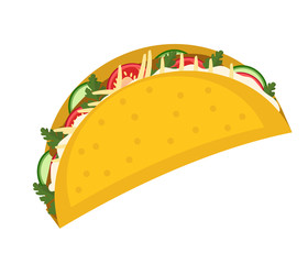 Tacos icon flat, cartoon style isolated on white background. Vector illustration, clip art. Traditional Mexican food