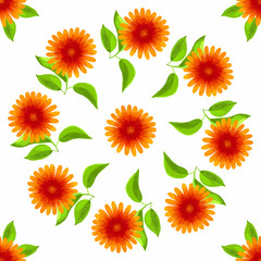 Floral seamless pattern. Vector watercolor flowers.