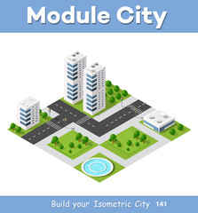 Isometric area is the landscape of a large city. Element for the construction of a metropolis.