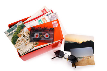 Red box with clipping path, filled with letters and photos taken in Paris and south of France.