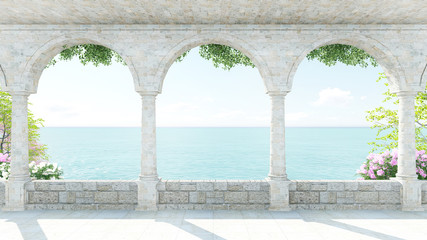 Terrace roman style sea view with flower in Italy on Holiday front zoom Wall mural