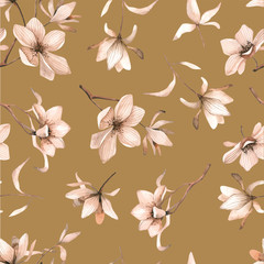 Seamless floral pattern with magnolias on a brown background, watercolor. Vector illustration.