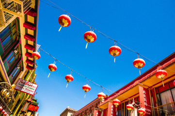SAN FRANCISCO - September 20, 2015: Beautiful red Chinese lanterns in Chinatown of San Francisco, California, USA