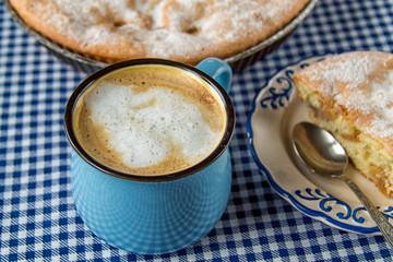 Apple pie and coffee mug