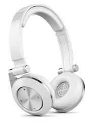 Silver wireless earphones