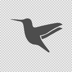 Hummingbird vector icon. Bird symbol. Vector EPS 10 on transparent background.