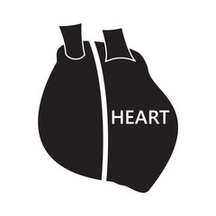 Realistic heart symbol black text