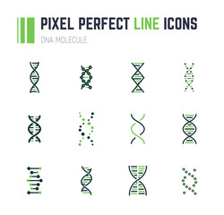 DNA molecule icon set
