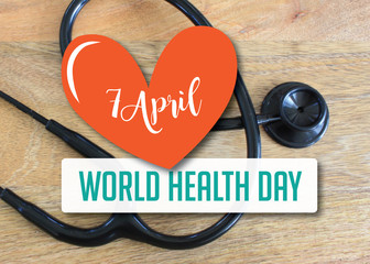 World Health Day heart and stethoscope design. EPS 10 vector.