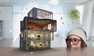 Design of your dream house . Mixed media . Mixed media