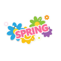 Abstract Creative Colorful Spring Lettering with Flowers. In Editable Vector Format.