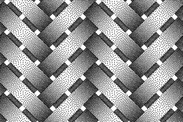 Vector seamless pattern of wicker bars. Stipple texture.