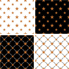 Bronze Color Nautical Star Big & Small Seamless Pattern Set