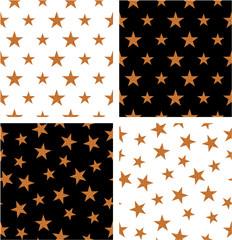 Bronze Color Nautical Star Big & Small Aligned & Random Seamless Pattern Set