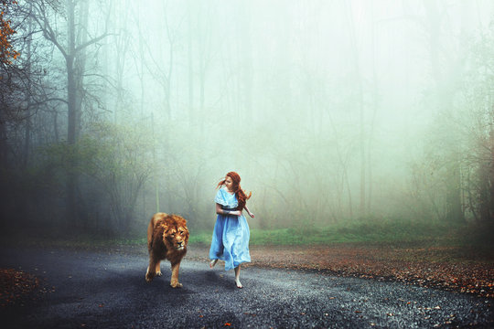 Composite image of lion and woman running on a street in forest