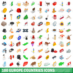 100 europe countries icons set, isometric 3d style