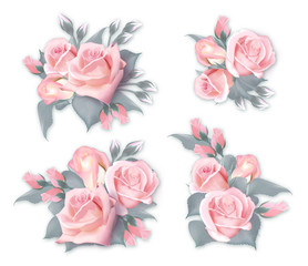 Vector set of bouquets with roses. Quality watercolor imitation of delicate pink roses. Can be used as greeting card, invitation card for wedding, birthday and other holiday and summer background