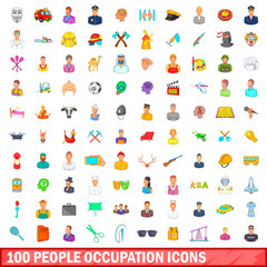 100 people occupation icons set, cartoon style